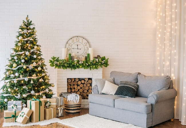 Holiday decorations in a living room