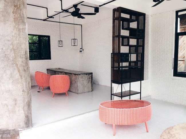 Modern interior with a pop of coral color