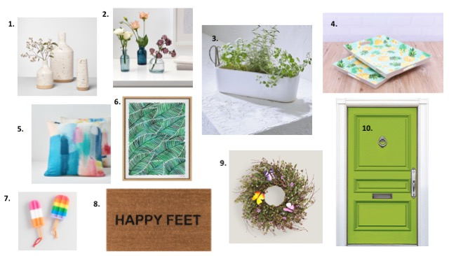 Collage of spring home decor pieces