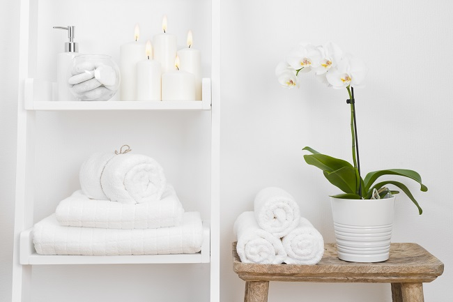 bathroom storage flower towels