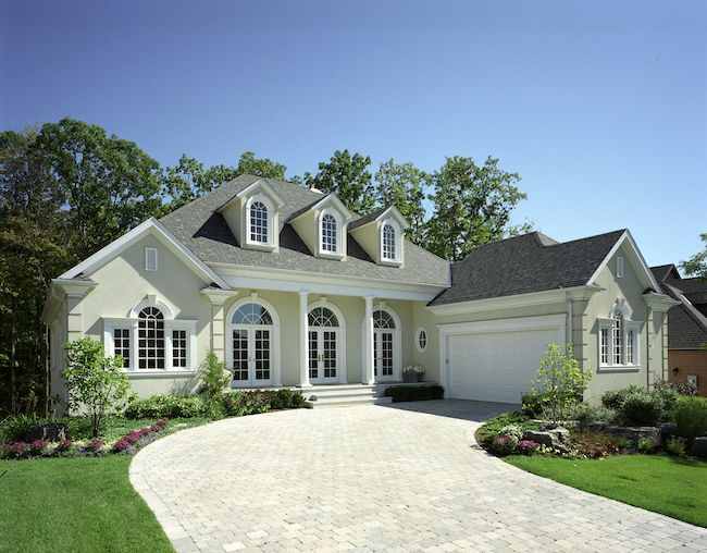 House with long driveway.