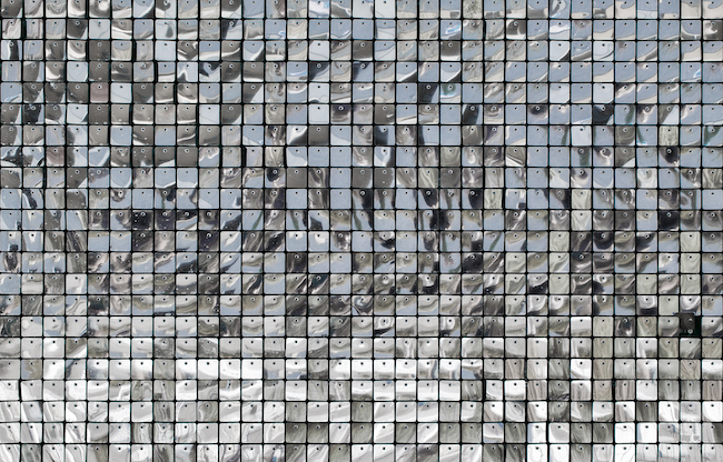 Decorative kitchen backsplash wall of shiny mirror silver squares