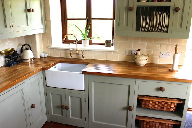 Wooden cabinets in a traditional country kitchen.