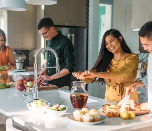 HGTV Dream Home 2020 - Cooking In The Kitchen, Two Couples Prepare Food At Kitchen Island