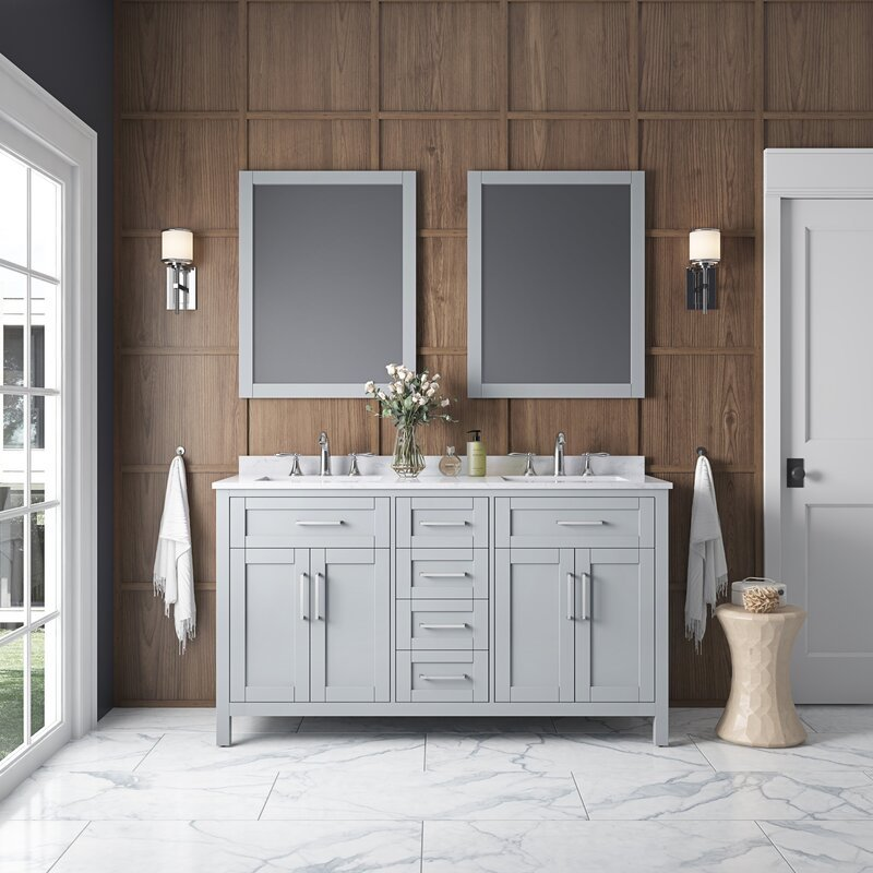 Tahoe double bathroom vanity set with mirror.