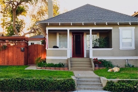 Small house with cute front porch.