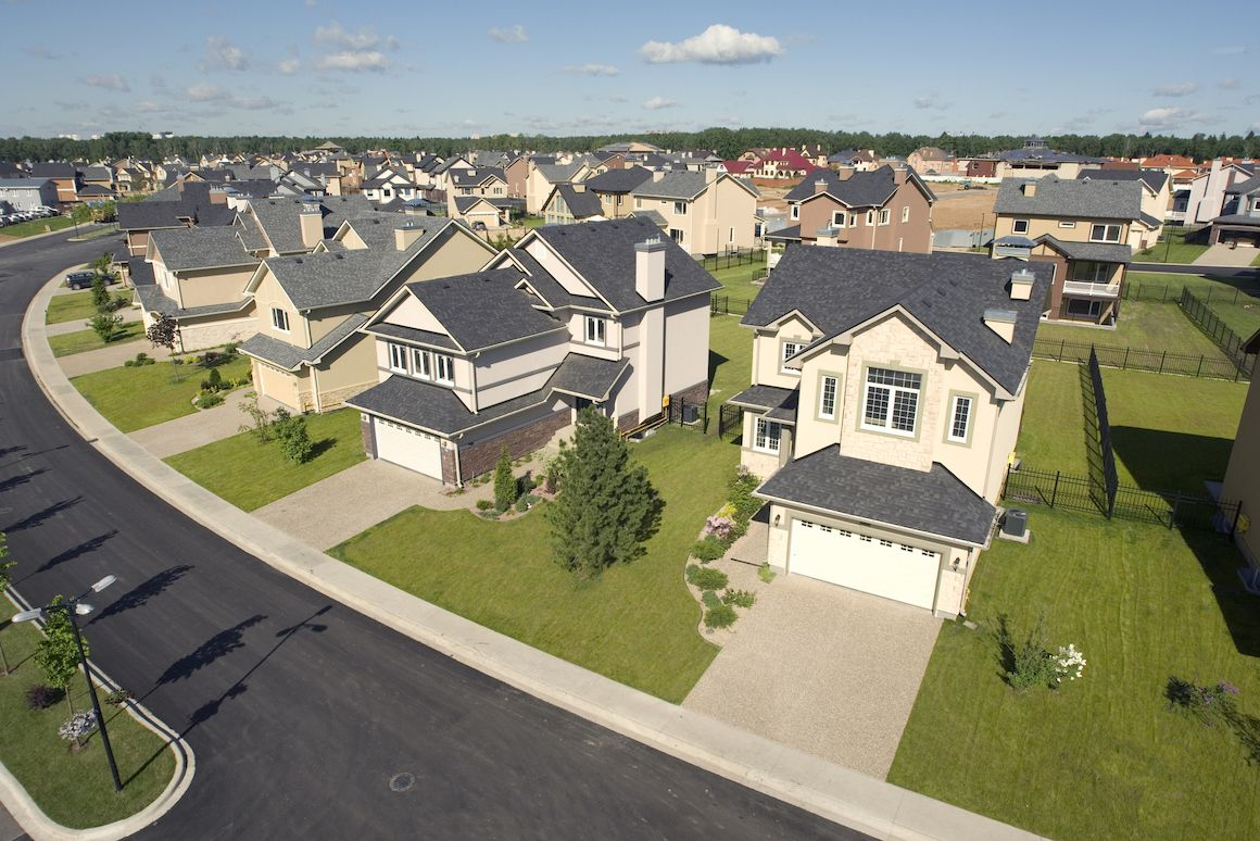High angle shot of a neighborhood development.