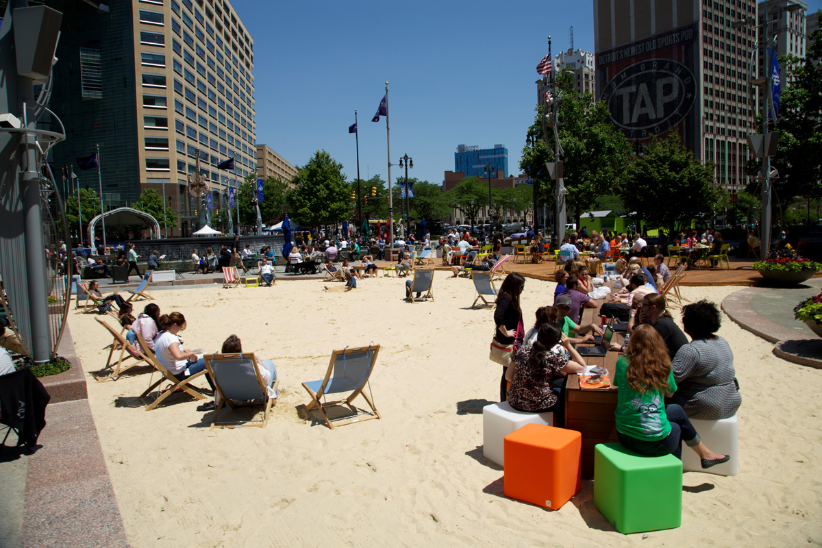 Campus Martius Beach, 2013.