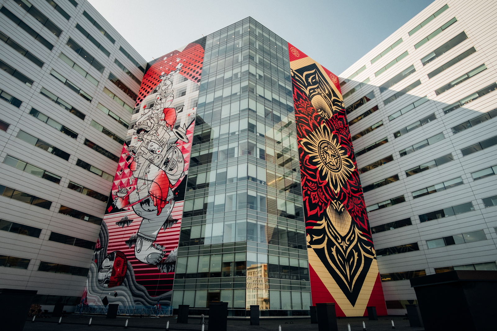 """Brothers Davide And Raoul Perre (How & Nosm) Created A 184-foot Tall By 60-foot Wide Mural Called """"Balancing Act"""" On The Side Of One Campus Martius."""
